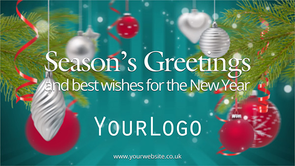 b2bcards corporate christmas eacrd ref:231089189.jpg, Baubles,Christmas Tree, Teal,Red,Green,Silver