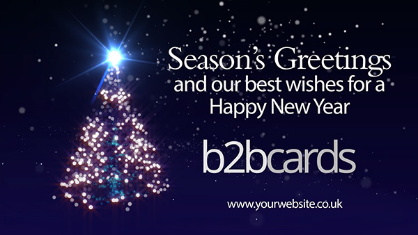 b2bcards corporate christmas eacrd ref:B2BV-233379154, Christmas Tree,Sparkly, Black,Blue,White