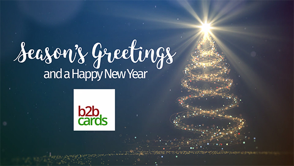 b2bcards corporate christmas eacrd ref:235646231.jpg, Sparkles,Snowflakes,Christmas Tree, Blue,Gold,Colours