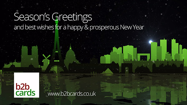 b2bcards corporate christmas eacrd ref:236001701.jpg, Scenery,Paris,Snow, Green,Colours