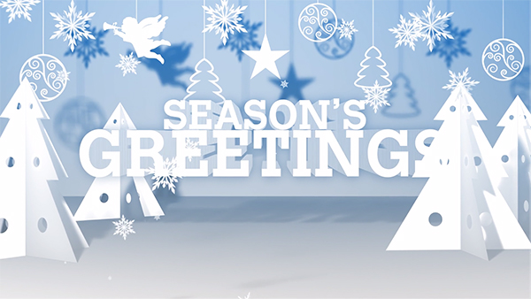b2bcards corporate christmas eacrd ref:B2BV-236712414, Snow,Christmas Tree,Baubles,Paper, Blue,White