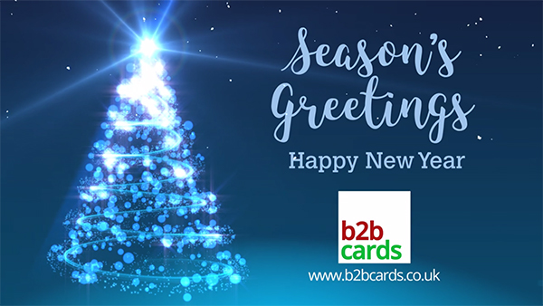 b2bcards corporate christmas eacrd ref:B2BV-236894301, Snow,Christmas Tree,Baubles, Blue,White