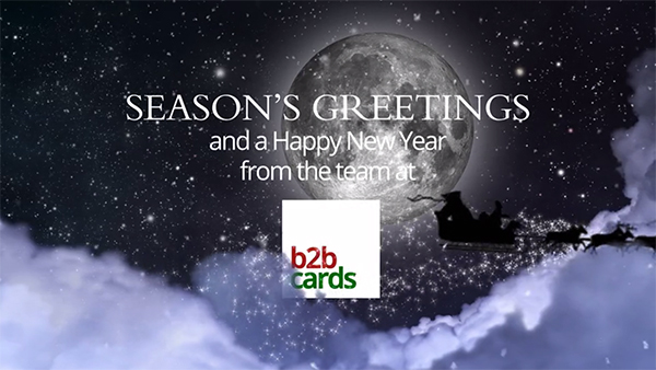 b2bcards corporate christmas eacrd ref:B2BV-240516561, Santa,Sleigh,Moon, Blue,White