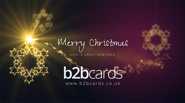 b2bcards corporate christmas eacrd ref:296024322.jpg, Snowflakes,Sparkly, Gold,Purple,Maroon