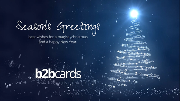 b2bcards corporate christmas eacrd ref:297702485.jpg, Christmas Tree,Sparkles,Baubles, Blue,Silver,White
