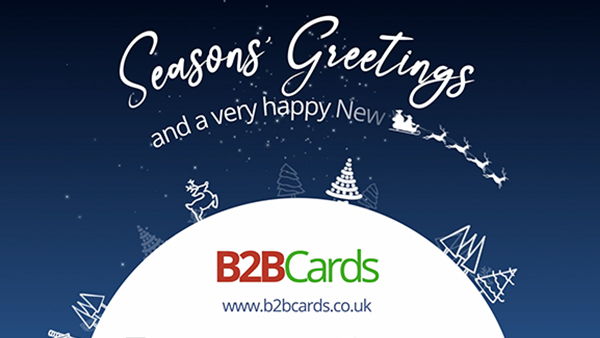 b2bcards corporate christmas eacrd ref:359247917.jpg, Santa,Christmas Tree,Scenery, Blue,White