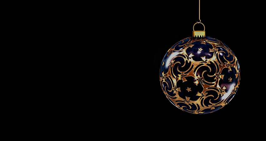 b2bcards corporate christmas eacrd ref:b2b-ecards-baubles-black-blue-gold-854.jpg, Baubles, Black,Blue,Gold
