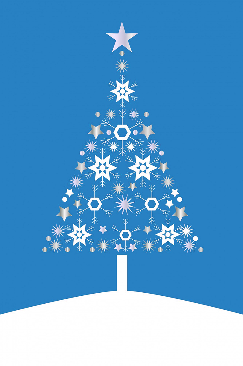 b2bcards corporate christmas eacrd ref:b2b-ecards-christmas-tree-contemporary-blue-489.jpg, Christmas Tree,Contemporary, Blue
