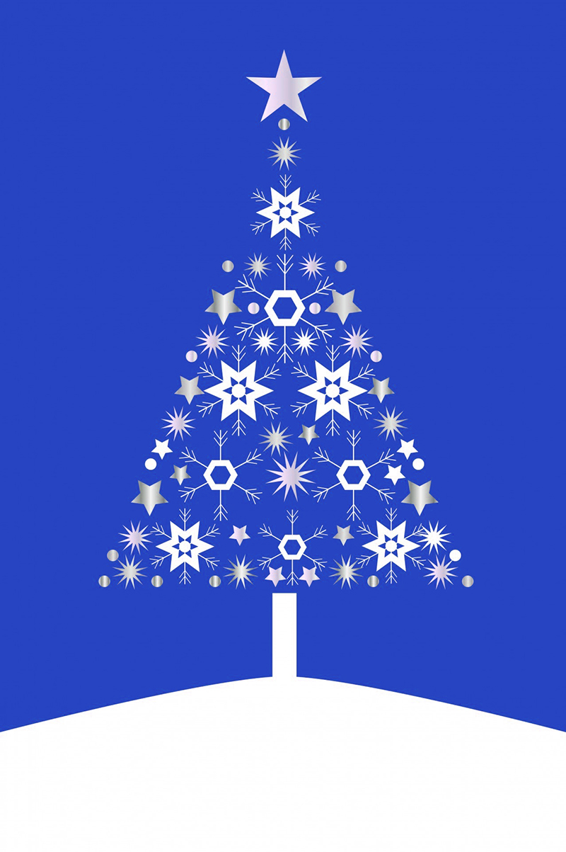 b2bcards corporate christmas eacrd ref:b2b-ecards-christmas-tree-contemporary-blue-490.jpg, Christmas Tree,Contemporary, Blue