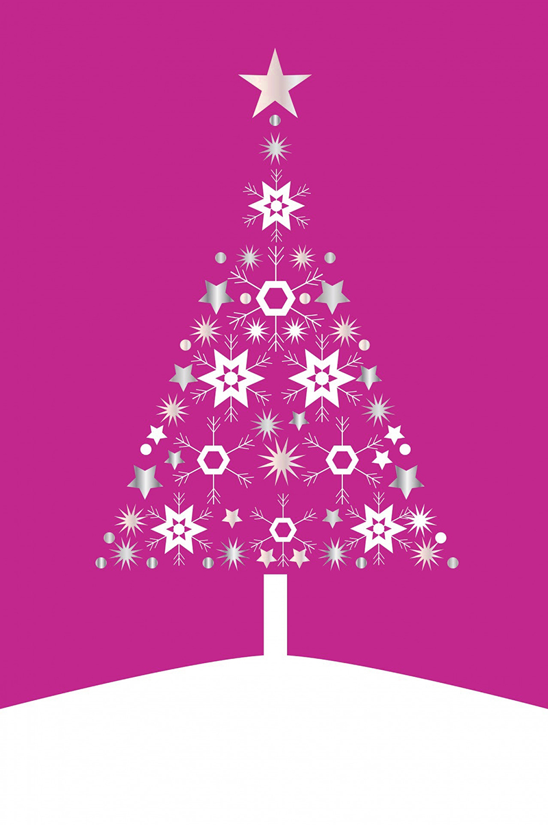 b2bcards corporate christmas eacrd ref:b2b-ecards-christmas-tree-contemporary-fuschia-494.jpg, Christmas Tree,Contemporary, Fuschia