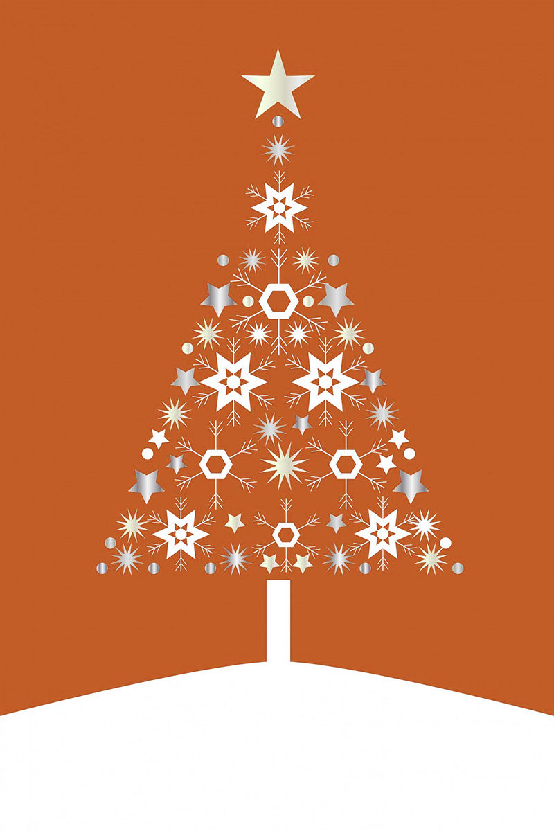b2bcards corporate christmas eacrd ref:b2b-ecards-christmas-tree-contemporary-orange-488.jpg, Christmas Tree,Contemporary, Orange