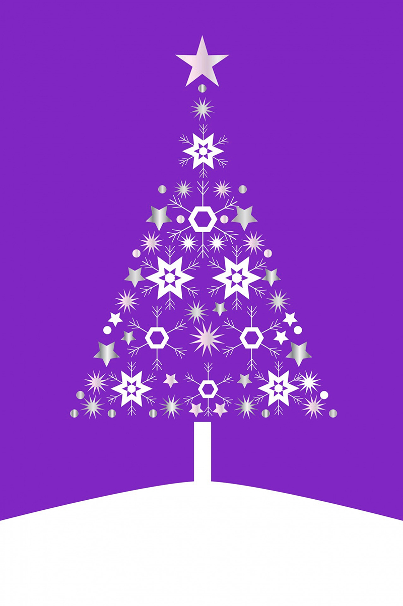 b2bcards corporate christmas eacrd ref:b2b-ecards-christmas-tree-contemporary-purple-492.jpg, Christmas Tree,Contemporary, Purple