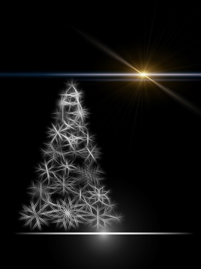b2bcards corporate christmas eacrd ref:b2b-ecards-christmas-tree-stars-black-and-white-black-687.jpg, Christmas Tree,Stars, Black and White,Black