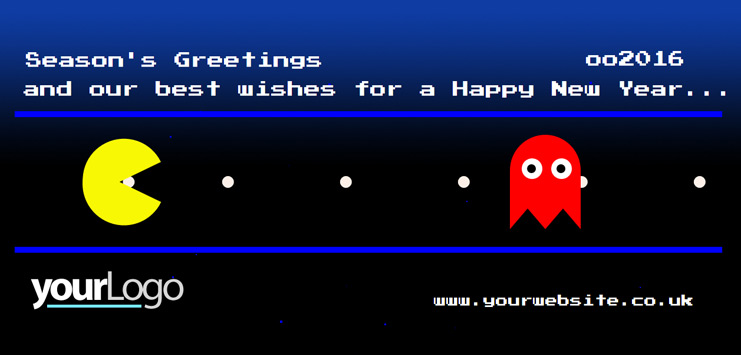b2bcards corporate christmas eacrd ref:b2bb15, Game,Pacman, Blue,Red,Yellow