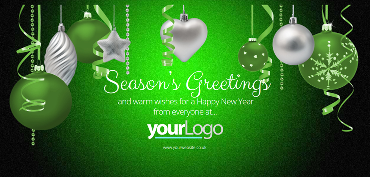 b2bcards corporate christmas eacrd ref:b2bb26, Baubles,Ribbons, Black,Silver,Green