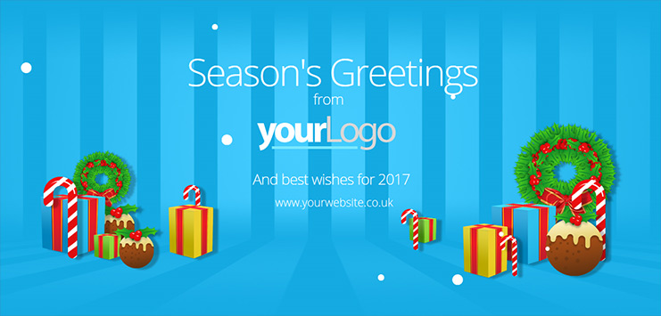 b2bcards corporate christmas eacrd ref:b2bb5, Presents,Wreath,Christmas Pudding, Blue,Colours