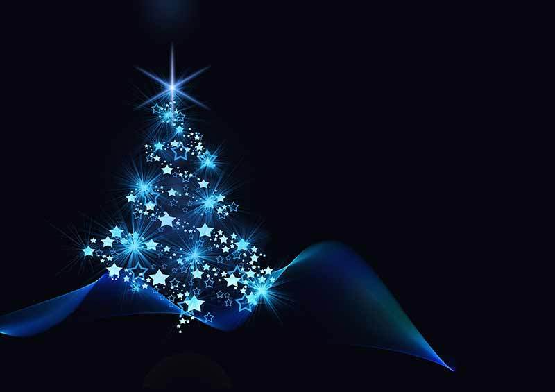 b2bcards corporate christmas eacrd ref:b2bcards-christmas-tree-blue.jpg, Christmas Tree,Baubles,Abstract, Black,Blue