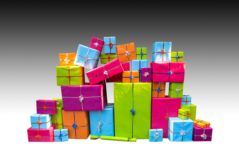 b2bcards corporate christmas eacrd ref:b2bcards-multicolour-presents-black.jpg, Presents, Colours,Black