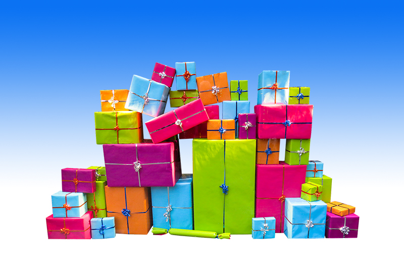 b2bcards corporate christmas eacrd ref:b2bcards-multicolour-presents-blue.jpg, Presents, Colours,Blue,Pink,Green,Orange,Purple