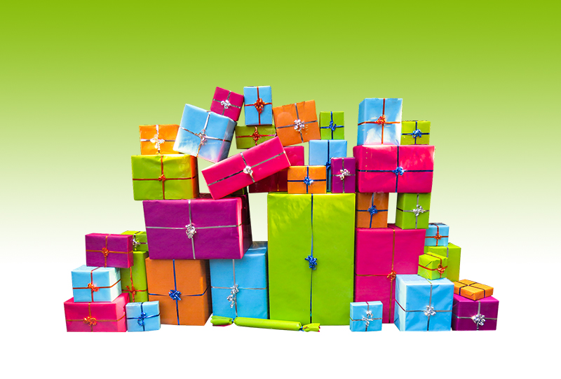 b2bcards corporate christmas eacrd ref:b2bcards-multicolour-presents-green.jpg, Presents, Colours,Blue,Pink,Green,Orange,Purple