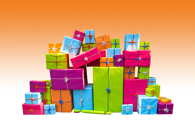 b2bcards corporate christmas eacrd ref:b2bcards-multicolour-presents-orange.jpg, Presents, Colours,Blue,Pink,Green,Orange,Purple