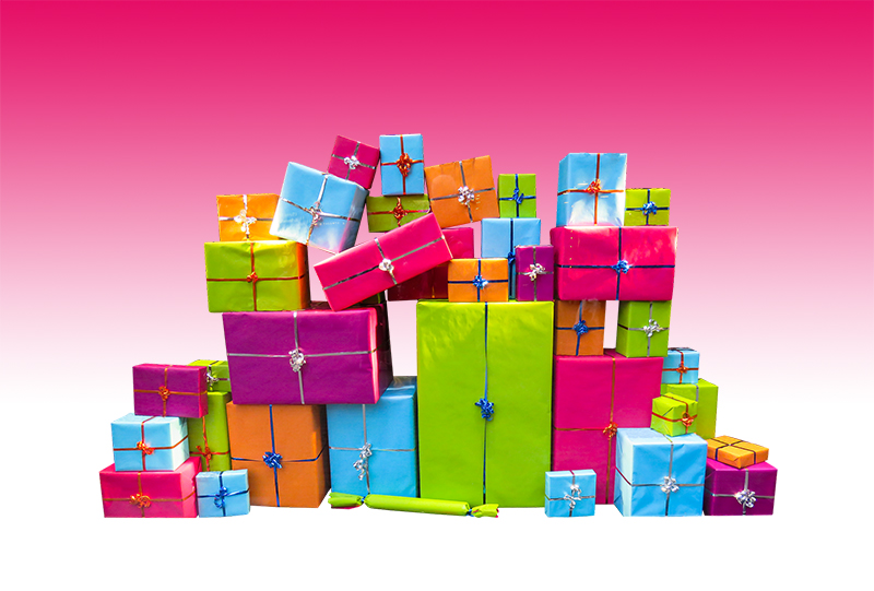 b2bcards corporate christmas eacrd ref:b2bcards-multicolour-presents-pink.jpg, Presents, Colours,Blue,Pink,Green,Orange,Purple