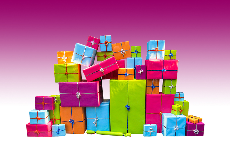 b2bcards corporate christmas eacrd ref:b2bcards-multicolour-presents-purple.jpg, Presents, Colours,Blue,Pink,Green,Orange,Purple