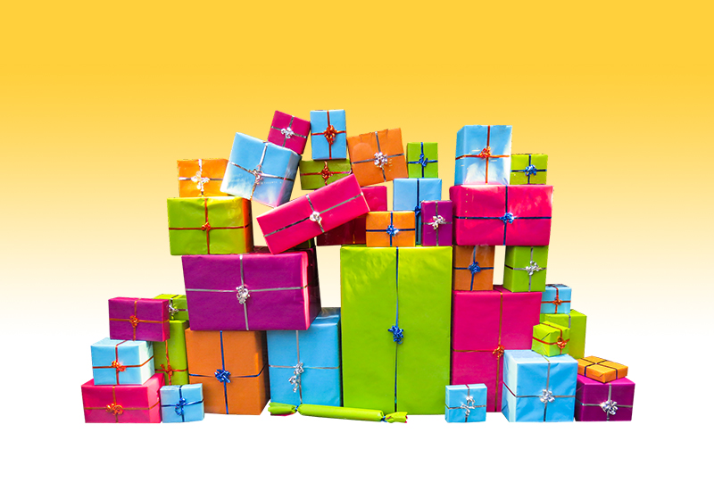 b2bcards corporate christmas eacrd ref:b2bcards-multicolour-presents-yellow.jpg, Presents, Colours,Blue,Pink,Green,Orange,Purple,Yellow