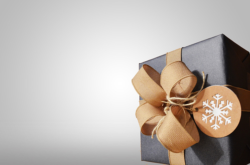 b2bcards corporate christmas eacrd ref:b2bcards-present-cloth-brown-silver.jpg, Presents,Bows, Silver,Grey,Gold